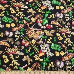 Italian Cuisine Print Cotton Woven Apparel Fabric