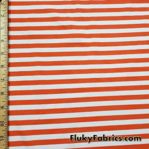 Orange and White Yarn Dyed Stripe 4 Way Stretch Cotton Lycra Fabric