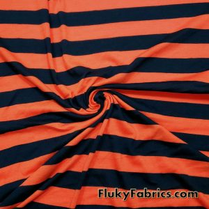 Navy and Orange Stripes Poly Cotton Jersey Fabric
