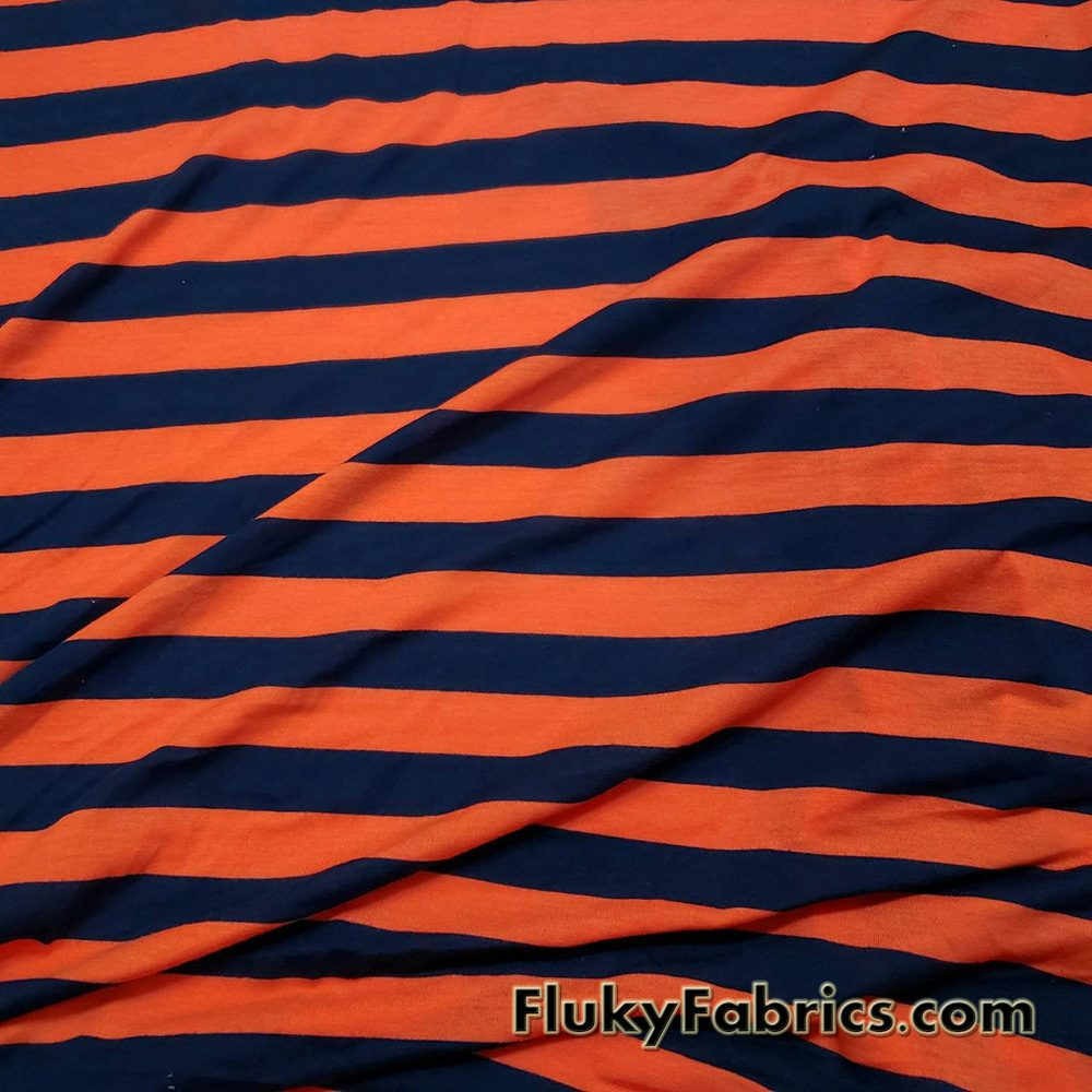 Navy and Orange Stripes Poly Cotton Jersey Fabric  Fabric