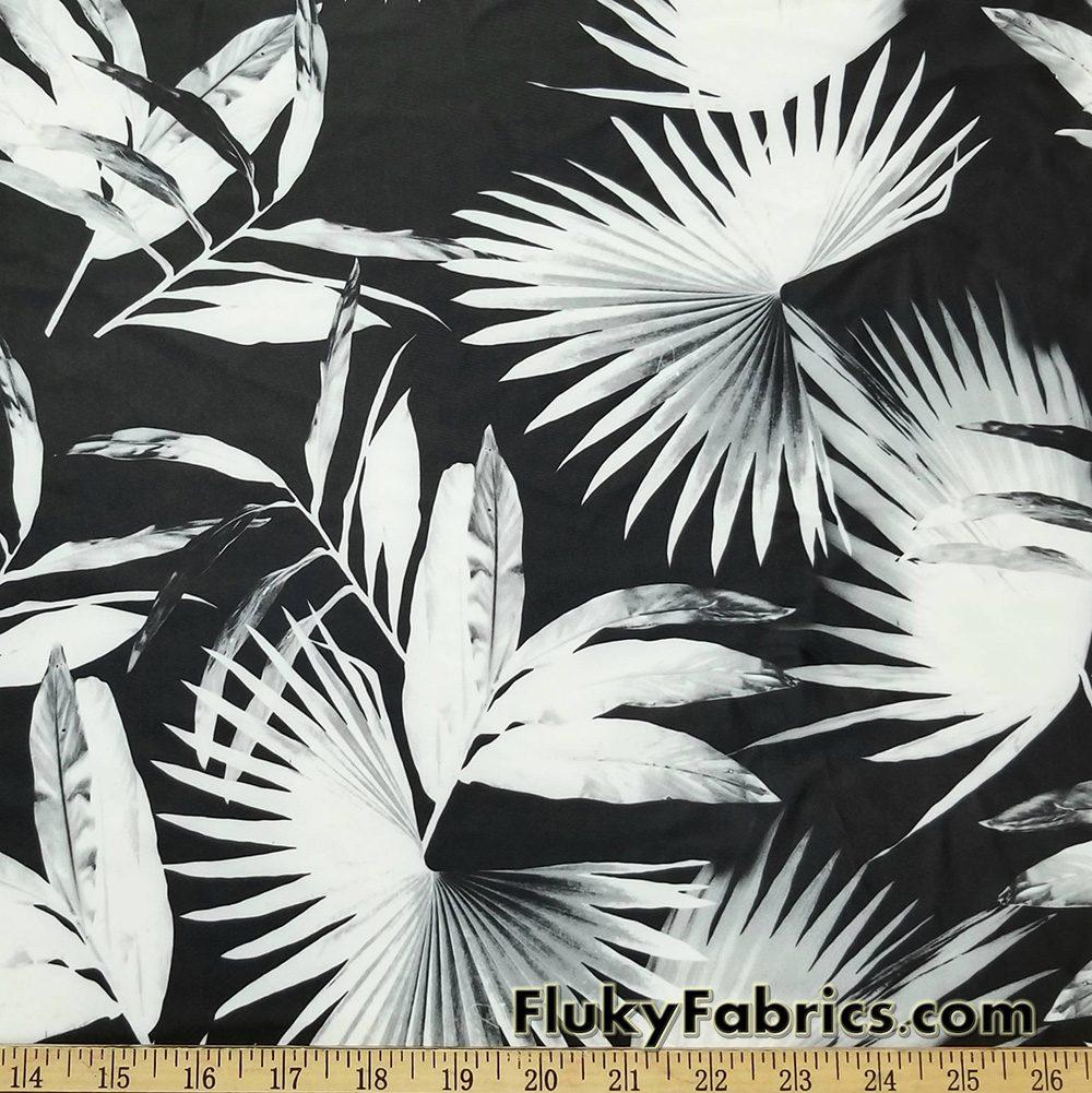 "4-way Stretch Spandex Tropical Leaves 58/"" Wide Swimwear Fabric by Yard D442.07"