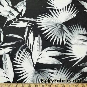 Big Monochromatic Palm Leaves Print Swimsuit Nylon Spandex Fabric