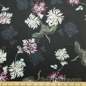 Crane and Flowers Swimwear Nylon Spandex Fabric