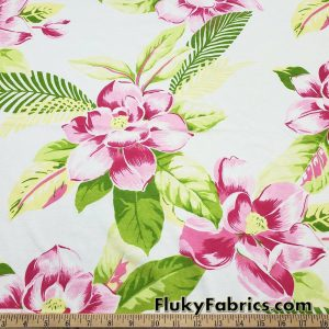 Big Pink Stylized Flowers and Foliage Cotton Jersey Fabric By The Yard