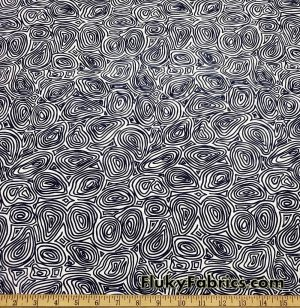Dark Navy and White Abstract Fingerprints Print Nylon Spandex Fabric