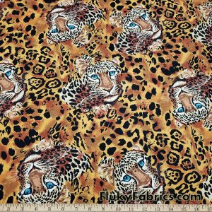 Jaguar Spots and Faces Print 44″ Wide Cotton Woven Fabric