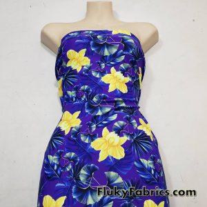 Yellow Orchids and Foliage Print on Purple UV/Blacklight Reactive Swimsuit Nylon Spandex Fabric