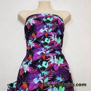 Midnight Hummingbirds, Orchids and Foliage Print UV/Blacklight Reactive Nylon Spandex Fabric