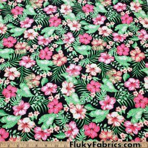 Beautiful Floral Hawaiian Tropical Print UV/Blacklight Reactive Nylon Spandex Fabric