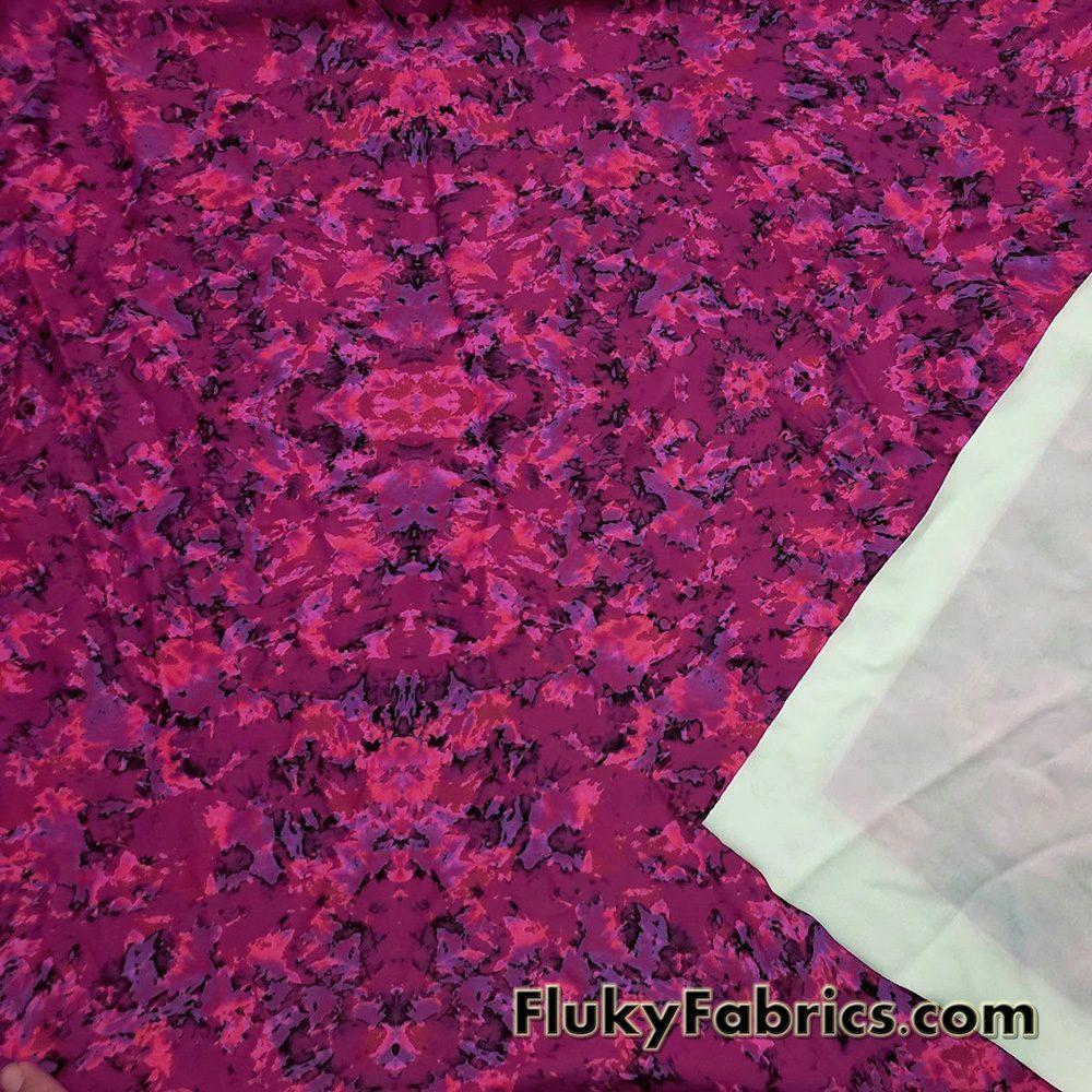 Shades of Magenta Abstract Print Swimwear Nylon Spandex Fabric  Fabric