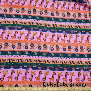 Marching Up and Down Cute Animals on Orchid Pink Cotton Jersey Fabric