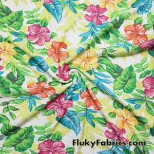Tropical Print Cotton Jersey Rib Great for Children Pajamas and Apparel