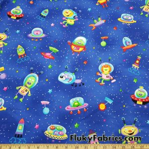 Cute Martians in Outer Space Print Cotton Woven Apparel Fabric