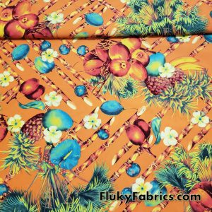 Tropical Cabana Fruits and Plants on Warm Orange Boardshort Fabric