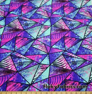 Colorful Paint Abstract Triangles UV/Blacklight Reactive Swimsuit Nylon Spandex Fabric