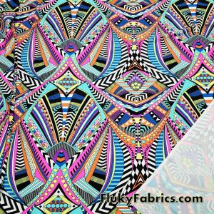 Bright Colors Tribal Abstract Print on White UV/Blacklight Reactive Swimsuit Nylon Spandex Fabric