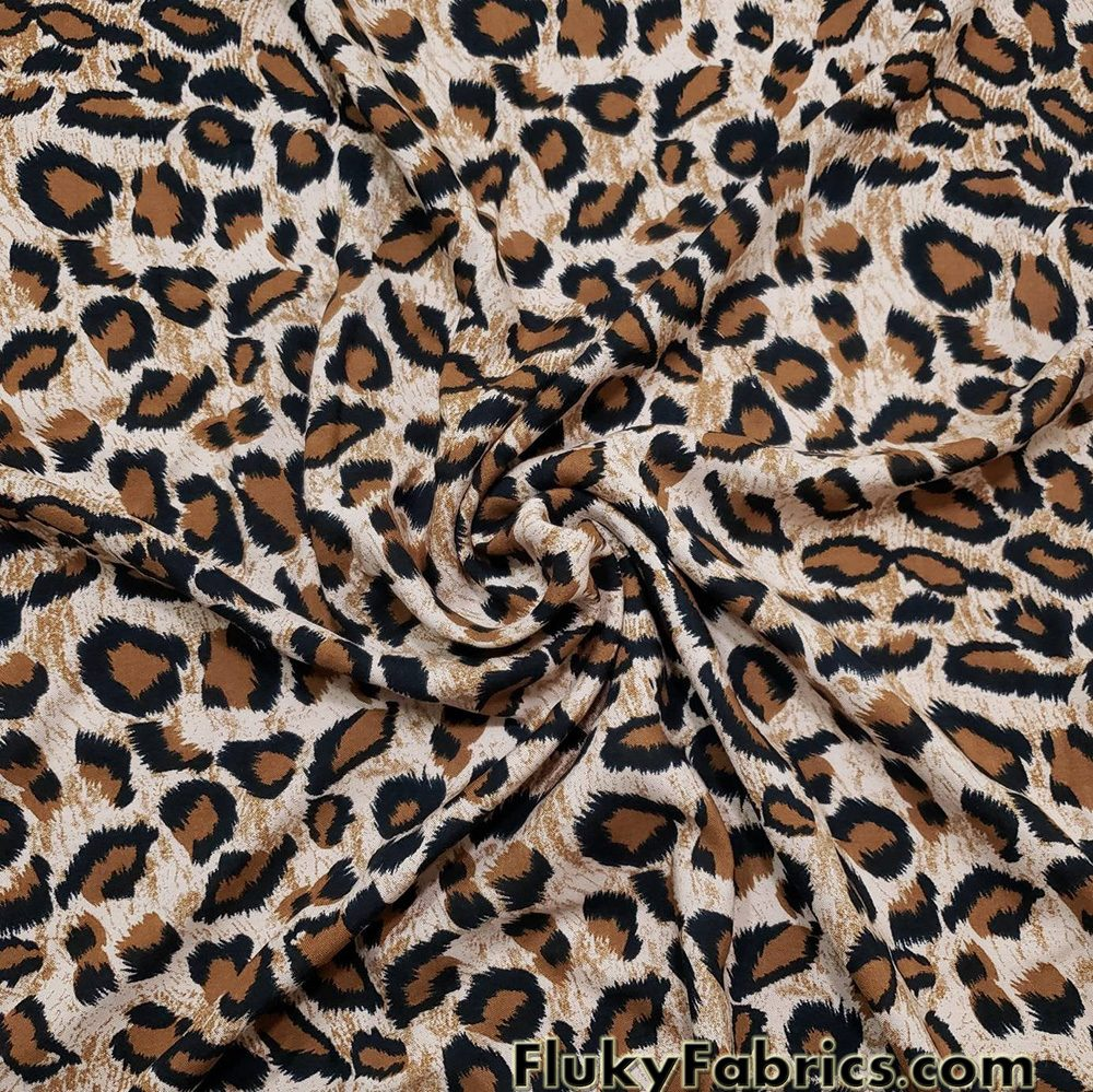 "Leopard Animal Print 60"" Wide Cotton Woven Fabric  Fabric"