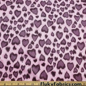 Leopard Spots Hearts in Shades of Mauve with All Over Lurex Cotton Spandex Fabric