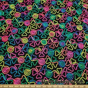 Colorful Neon 3D Clover Doodles on Mesh Poly Spandex Fabric