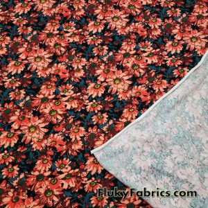Orange Red and Salmon Daisies Lightweight Cotton Jersey Lycra Fabric  Fabric