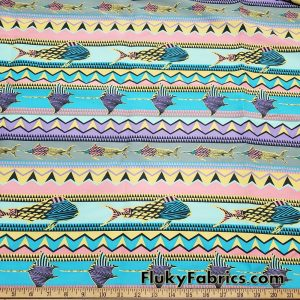 Colorful Marine Creatures and Geometric Shapes  Boardshort Fabric