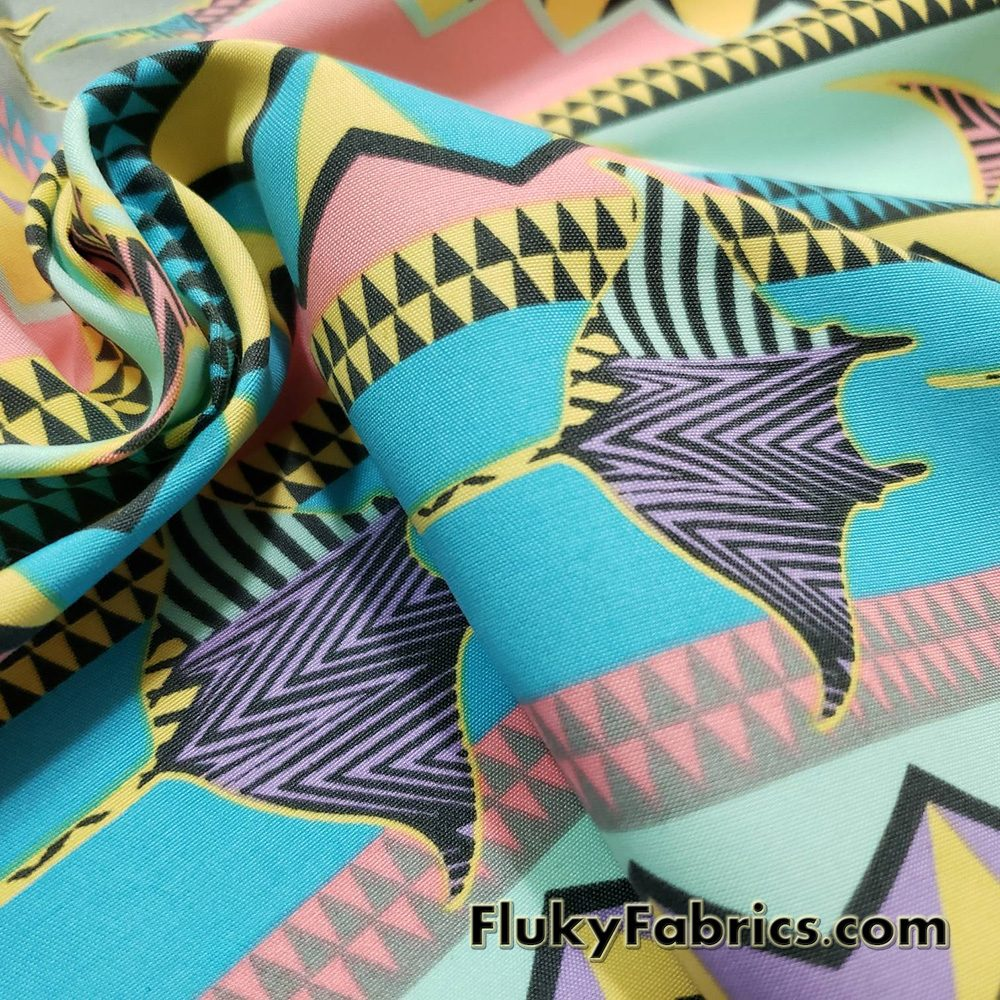 Colorful Marine Creatures and Geometric Shapes  Boardshort Fabric  Fabric