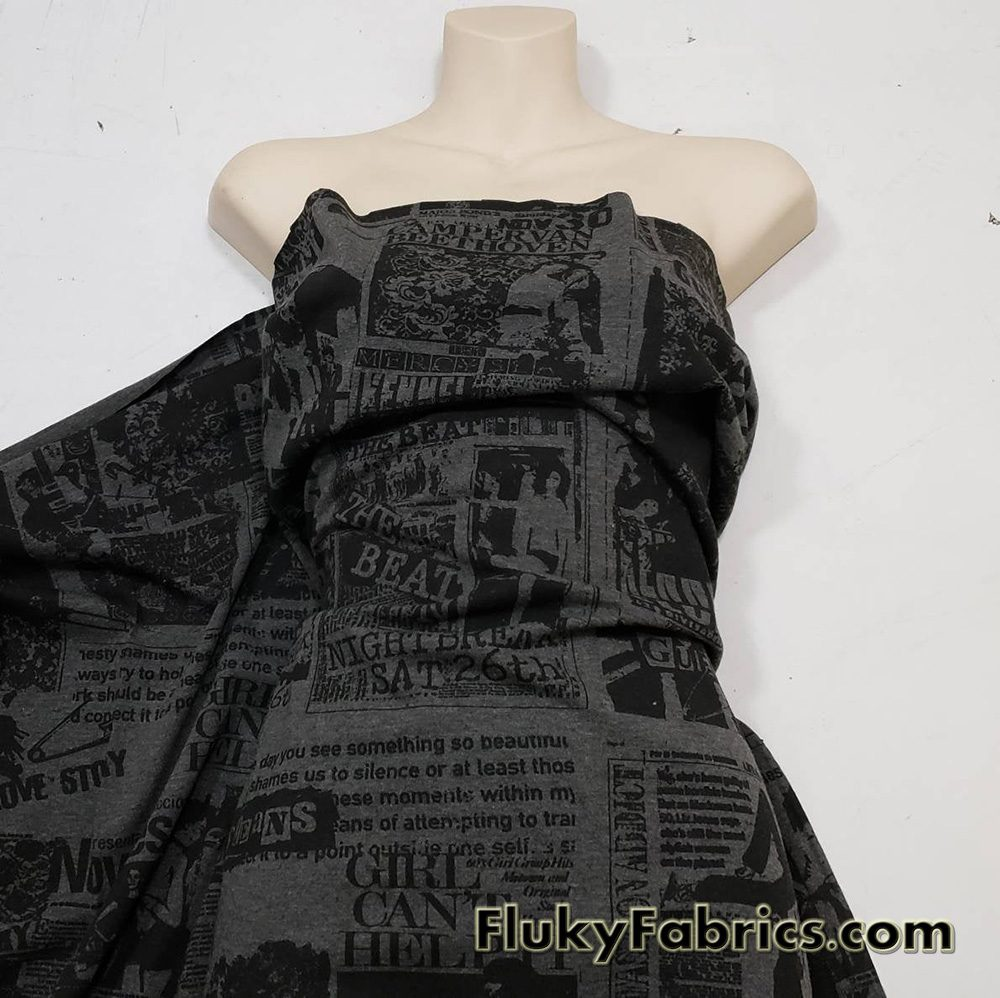 Rock & Roll Charcoal and Black Print Cotton Spandex Jersey Apparel Fabric  Fabric