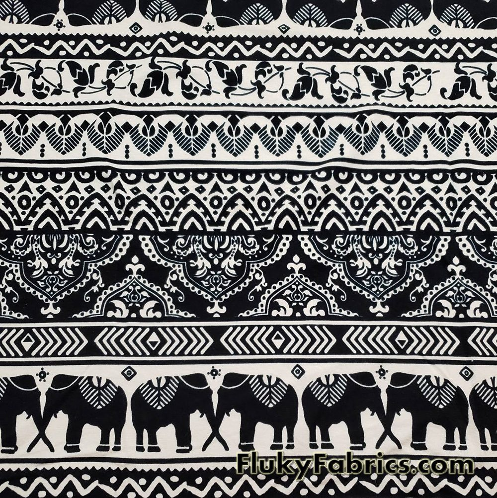Black Marching Elephants and Ornaments on a Cream Background Cotton Lycra Fabric  Fabric