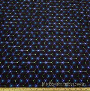 Hexagon Laser Lines on Dark Navy and Black UV/Blacklight Reactive Swimsuit Nylon Spandex Fabric