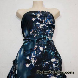 Cascade Abstract Flowers Nylon Spandex Swimwear Fabric  Fabric