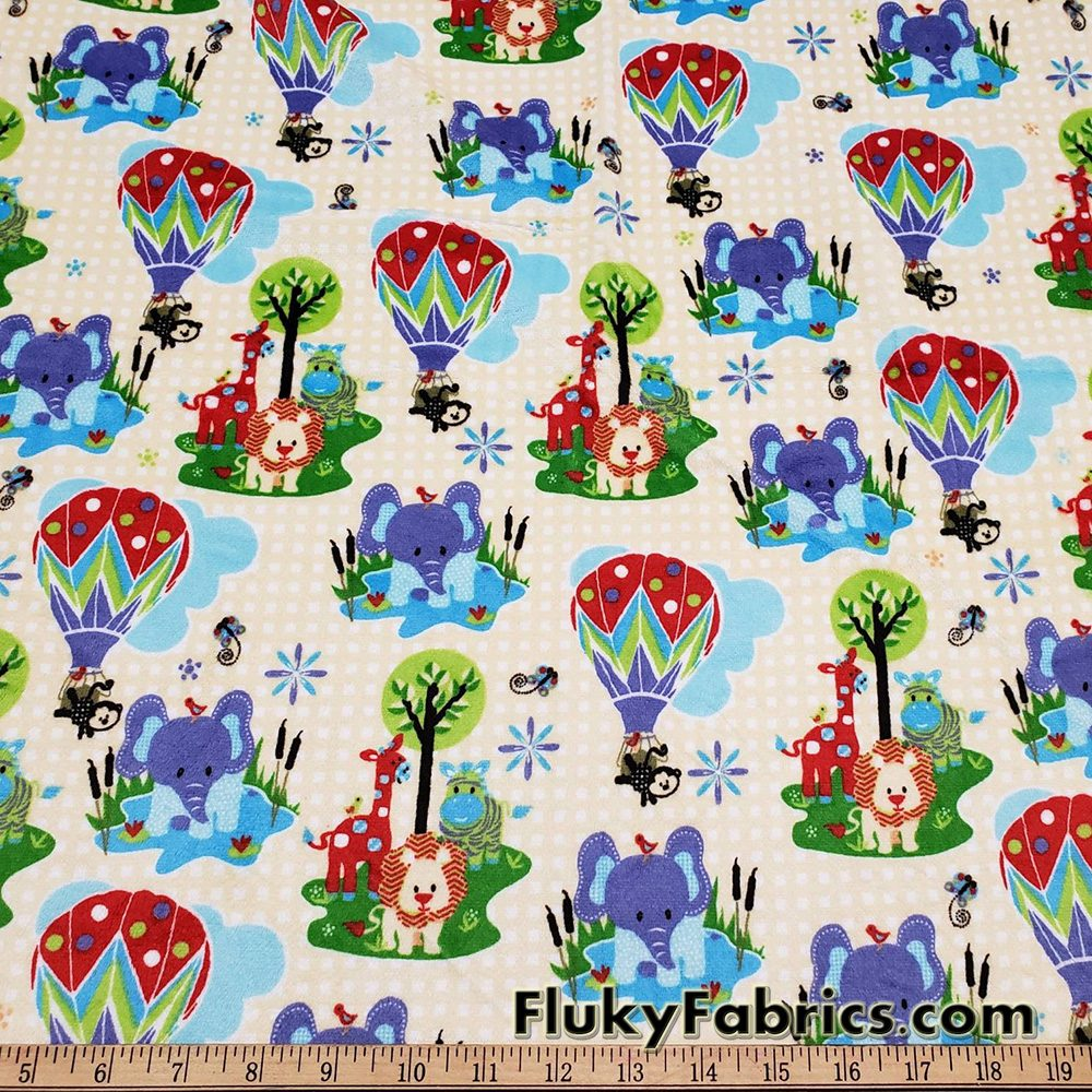 Minky Fabric with Cute Baby Animals on a Yellow Pattern Background  Fabric