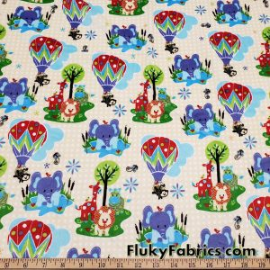 Minky Fabric with Cute Baby Animals on a Yellow Pattern Background