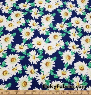White Daisies on Navy Apparel, Bikinis, Swimwear Nylon Spandex Fabric