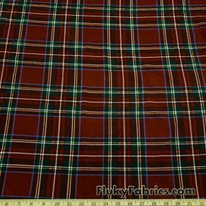 Dark Red Plaid Lightweight Cotton Spandex Jersey Fabric