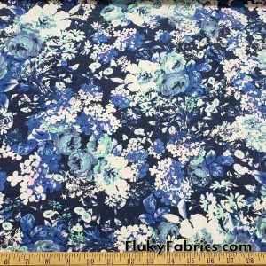 Cabbage Roses and Flower Mix Spray Cotton Lycra Fabric by the Yard