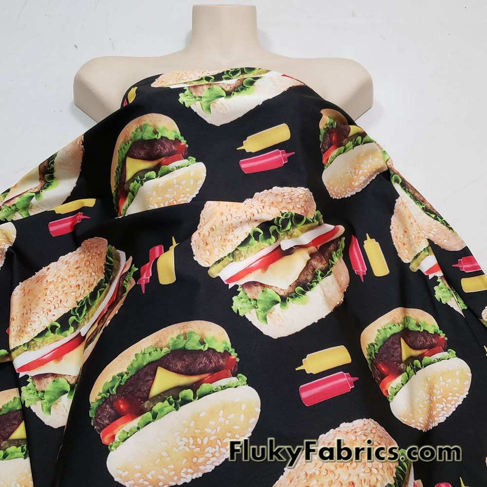 Giant Hamburgers 1/2 Yard Cuts Nylon Spandex Fabric  Fabric