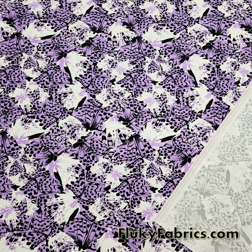 Abstract Med Purple, White, Black Butterflies Swimsuit Nylon Spandex Fabric  Fabric