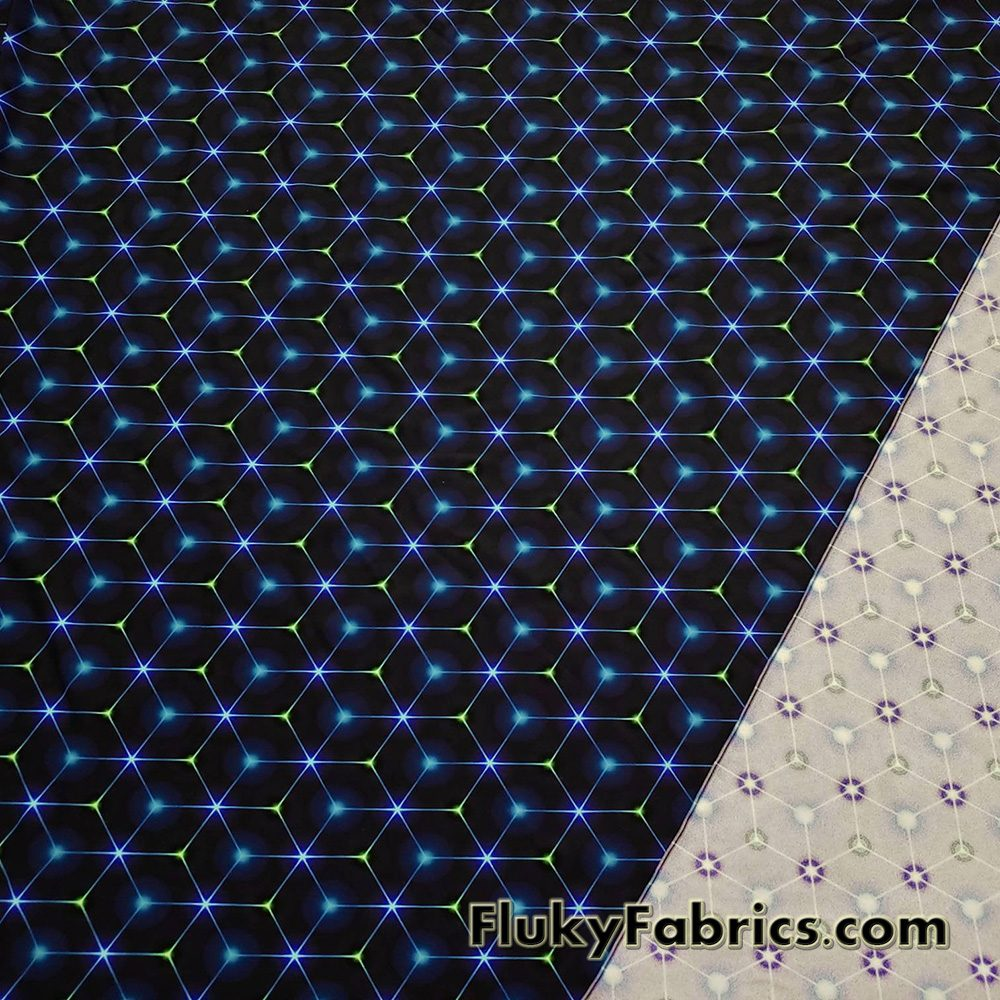 Hexagon Laser Lines on Dark Navy and Black UV/Blacklight Reactive Swimsuit Nylon Spandex Fabric  Fabric