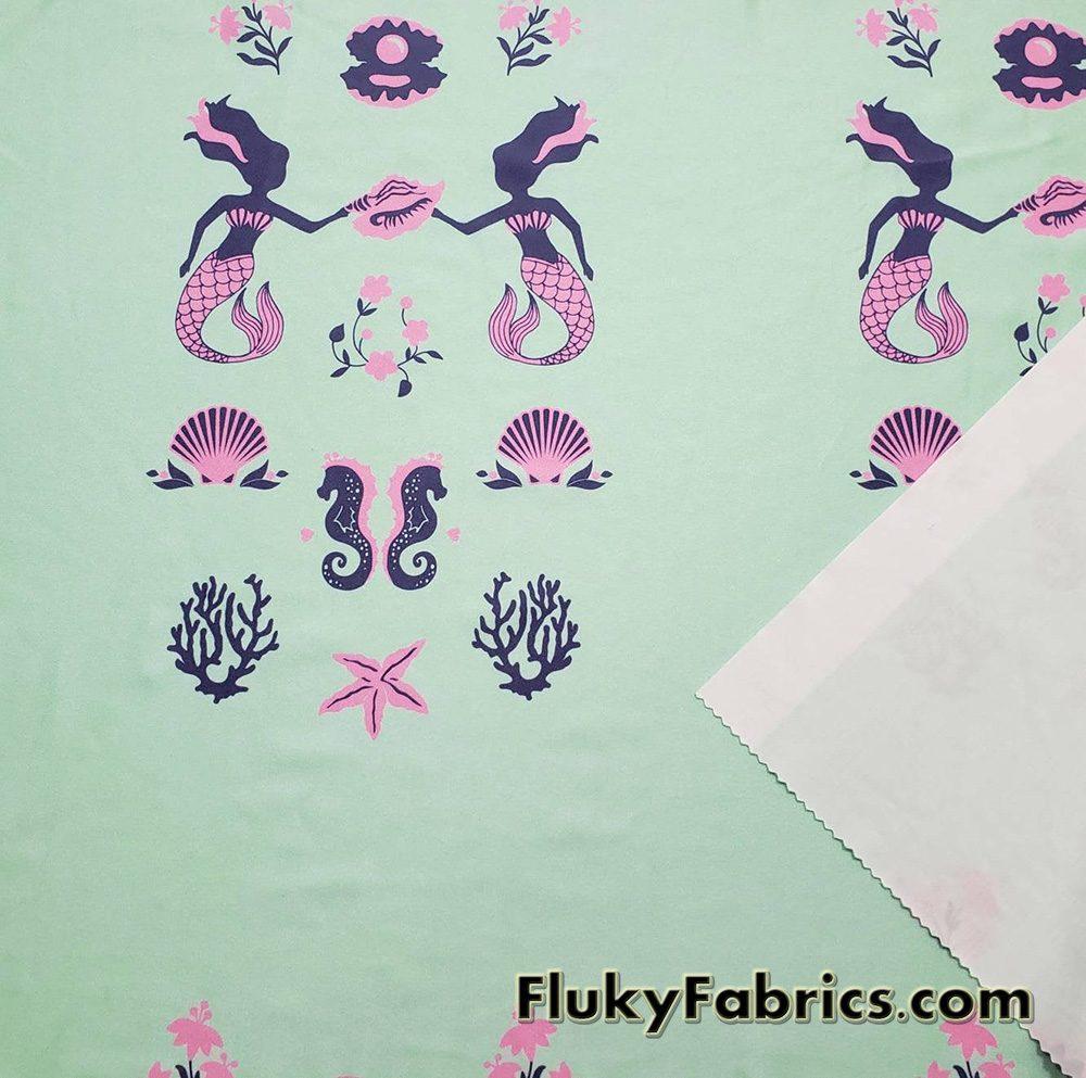 Mermaids, Pearls, Seahorses, Seashells, Corals and Flowers Nylon Spandex Swimwear Fabric  Fabric