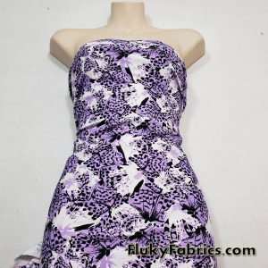 Abstract Med Purple, White, Black Butterflies Swimsuit Nylon Spandex Fabric