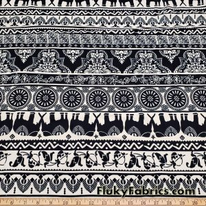 Black Marching Elephants and Ornaments on a Cream Background Cotton Lycra Fabric