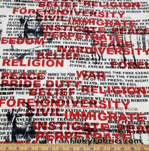 Sign of the Times Red and Black Text on White Cotton Jersey Fabric