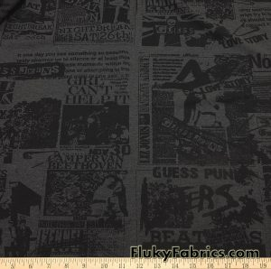Rock & Roll Charcoal and Black Print Cotton Spandex Jersey Apparel Fabric