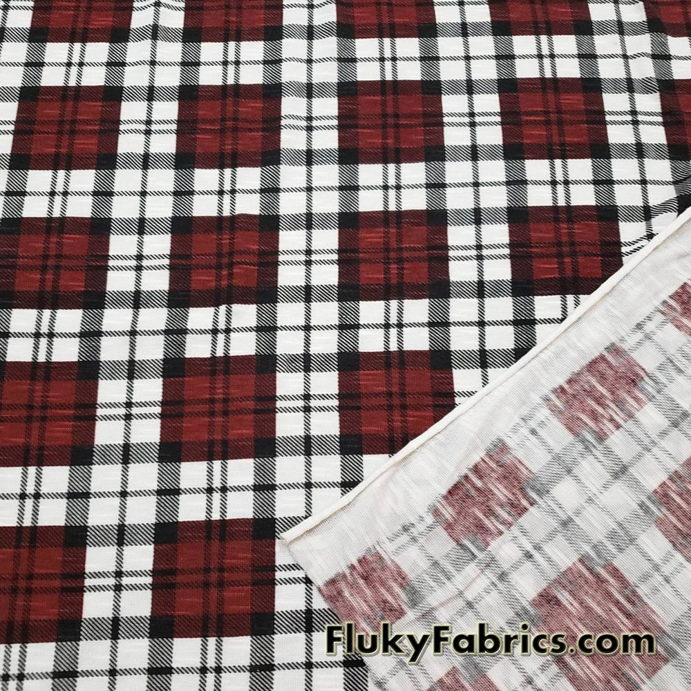 Plaid Slub Sweater Knit Fabric  Fabric