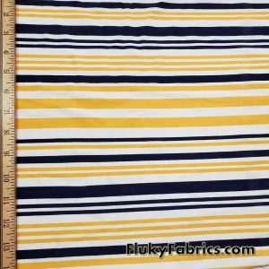 Navy and Yellow Thin and Wide Stripes Nylon Spandex Swimwear Fabric