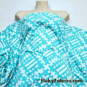 Geometric Aqua Print on White Poly Spandex Swimwear Fabric