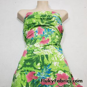 Tropical Flowers and Green Leaves Nylon Spandex Swimsuit Fabric
