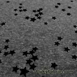 Dark Heather Gray with Mini Black Stars Print Poly Cotton Brushed Rib Fabric  Fabric