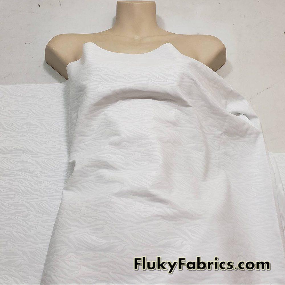 White Foil on White 1/2 Yard Cuts Nylon Spandex Fabric  Fabric
