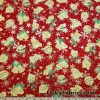 Christmas Ornaments and Gold Lurex Snowflakes on Red Polyester Woven Fabric